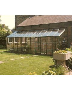 Kensington 6 Lean-To  Alloy Finish Toughened Glass.