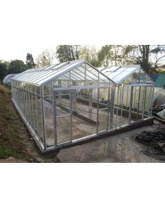 "Robinsons Rosette Reach Double Span Powder Coated Greenhouse 21'9"" (6628mm) wide"